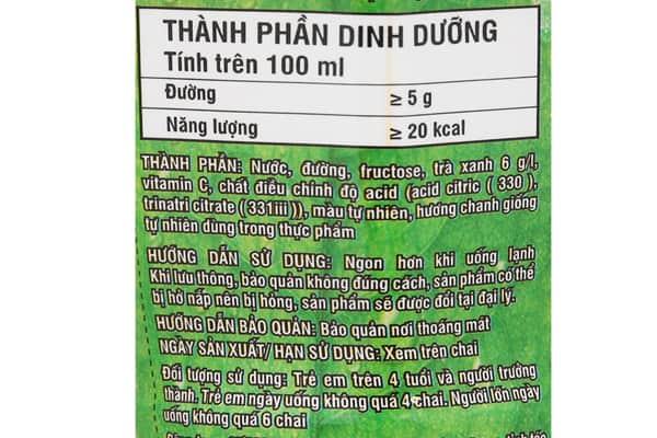 1 chai trà xanh không độ 450 ml sẽ chứa khoảng 90 calo
